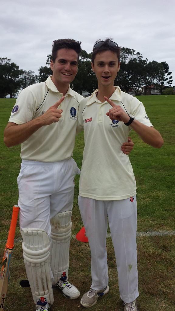 Heroes Hugh and Harry celebrate the 1 wicket win