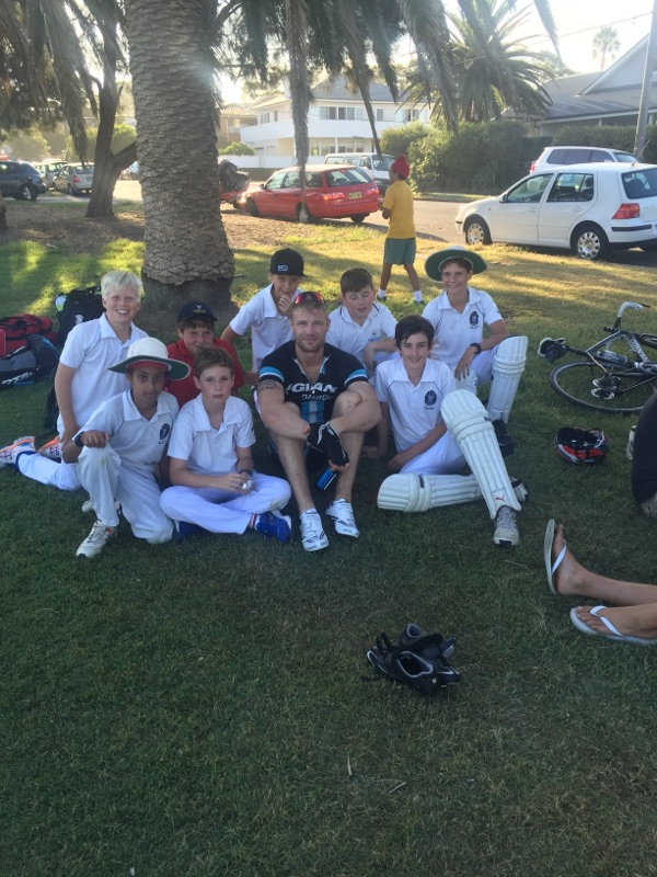 Freddie Flintoff with the U/13 boys