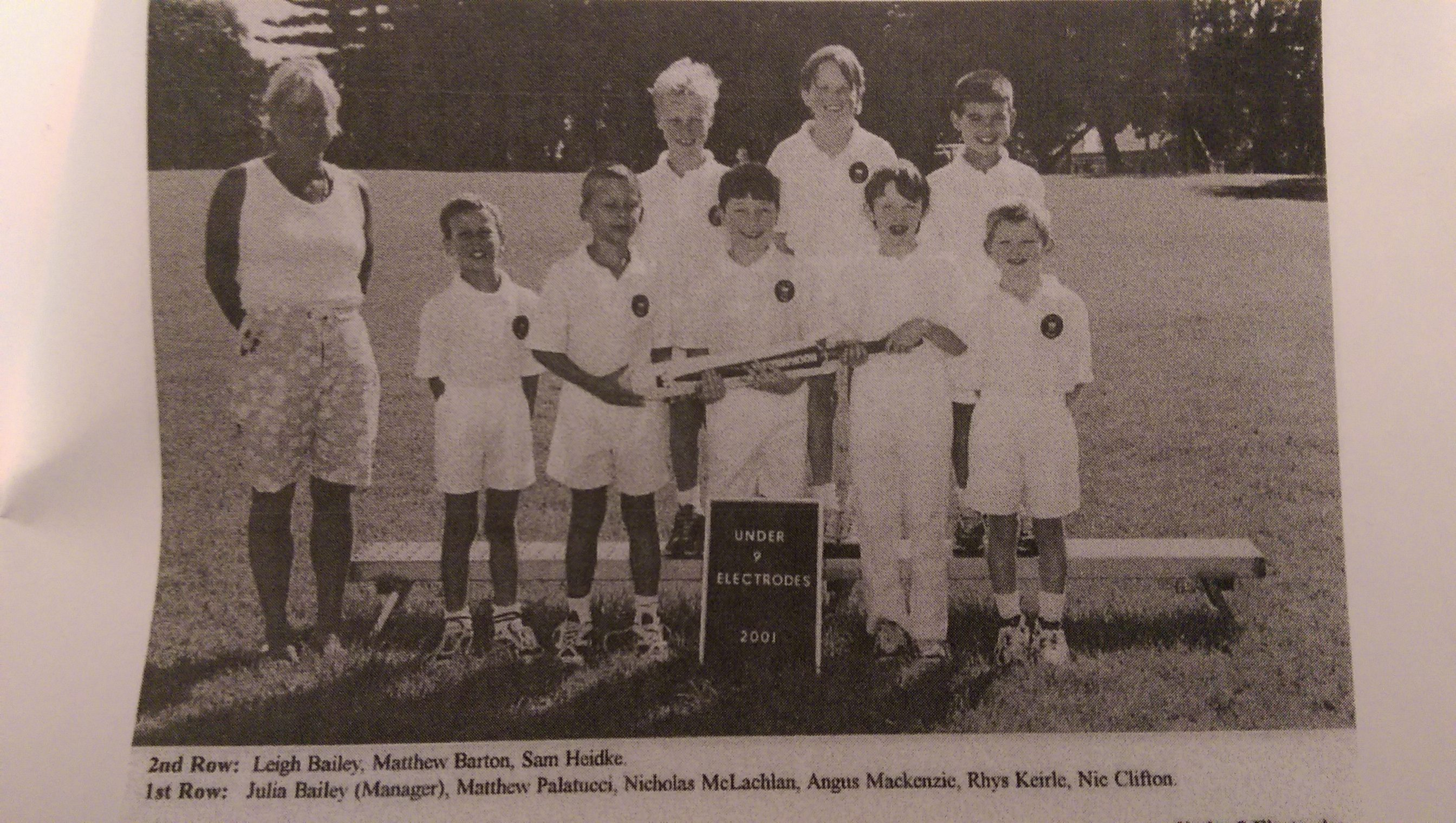 Matt Barton Collaroy Plateau Cricket Club Juniors Team Photo Under 9's 2001