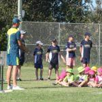 U14 'Assistant Coaches' Alec, Fynn, Oli and Josh L look on as Josh Hazlewood addresses the Junior Blasters.