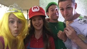 Emily, Ariel Norris (as Mario), Brodie and Sam Steindl (as... donut man?)