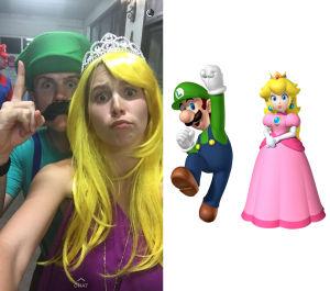 Nick Bonner as Luigi and Emily Carden as Princess Peach