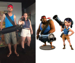 Tom and Kassy as Boom Beach characters