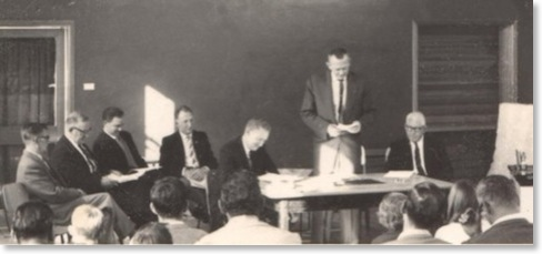 CPCC AGM circa 1963 - Ken Hunt, President addresses the meeting in the Youth Club