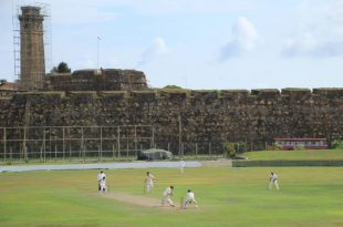 CPCC play at Galle Stadium. View towards Galle Fort.